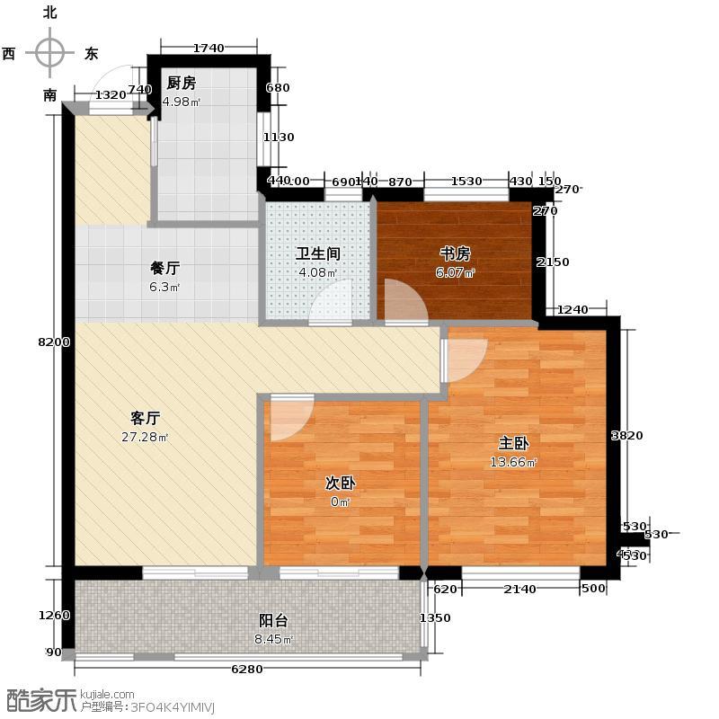 曙光之城89.00㎡滨江E2户型3室1厅1卫1厨