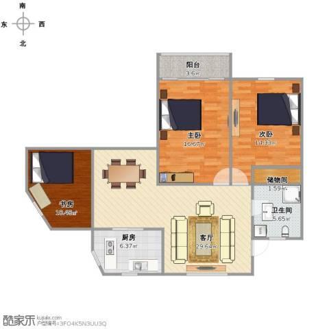 龙州小区3室1厅1卫1厨94.88㎡户型图