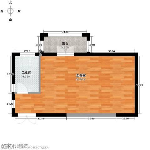 龙鸿怡家1室1厅1卫0厨55.00㎡户型图