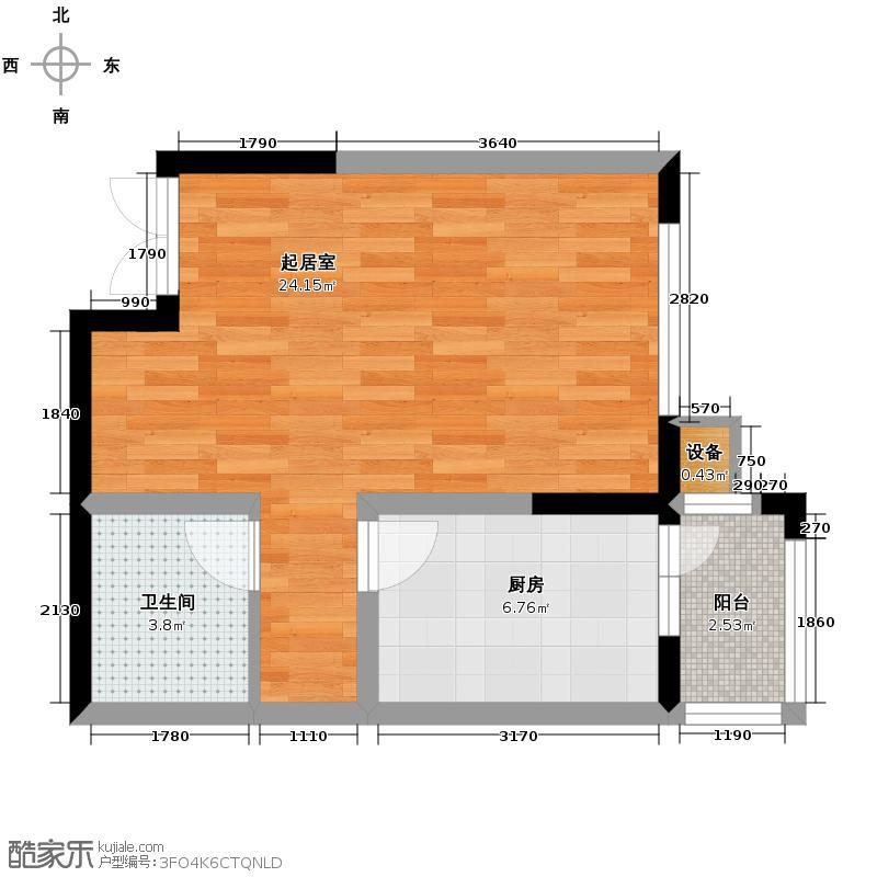 龙鸿怡家43.88㎡A2户型1室1厅1卫