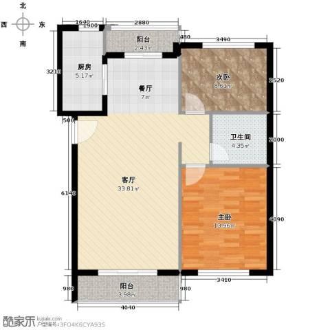 领秀世家2室2厅1卫0厨99.00㎡户型图