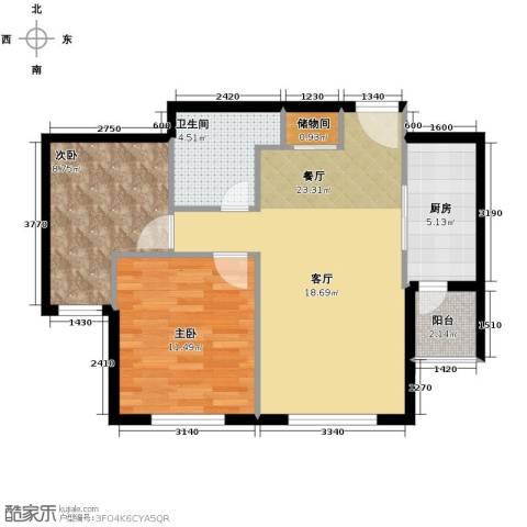 领秀世家2室2厅1卫0厨83.00㎡户型图