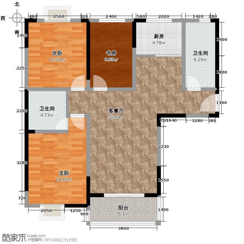 东方广场128.00㎡户型3室2厅2卫