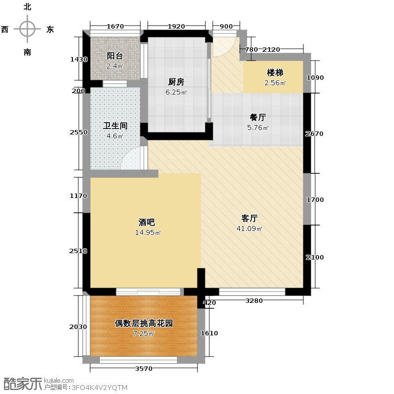 保利东湾114.00㎡四期7号楼8号楼标准层E2一层户型1厅1卫1厨