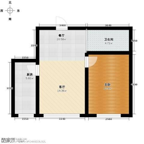 嘉惠红山郡1室2厅1卫0厨61.00㎡户型图