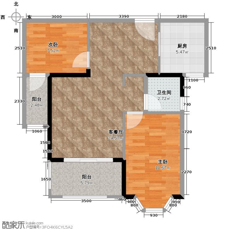 三盛托斯卡纳79.00㎡86#户型2室2厅1卫