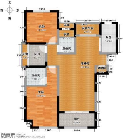 华地润园2室2厅2卫0厨114.00㎡户型图