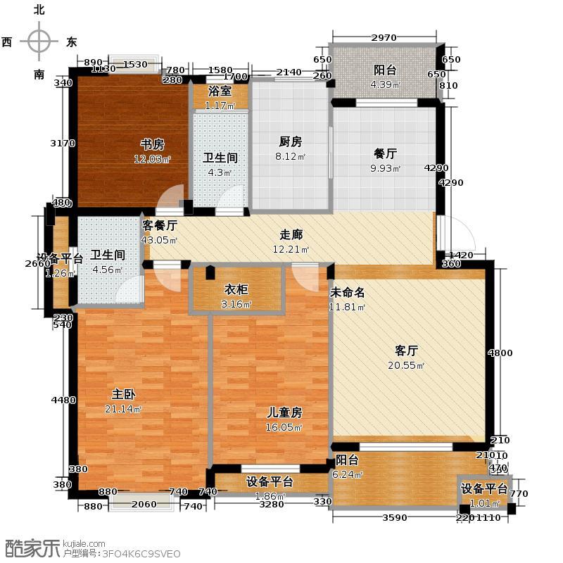 帝凯帝景园123.00㎡B2户型3室1厅2卫1厨