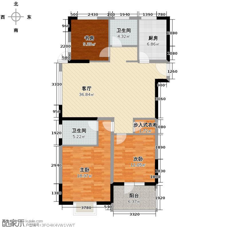 银爵世纪公寓139.53㎡户型3室1厅2卫1厨