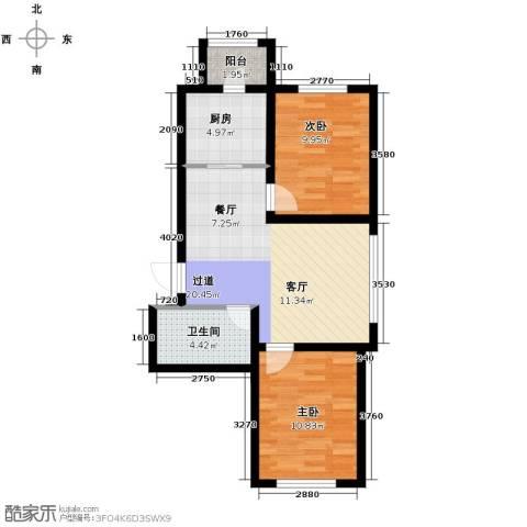 嘉惠红山郡2室2厅1卫0厨77.00㎡户型图
