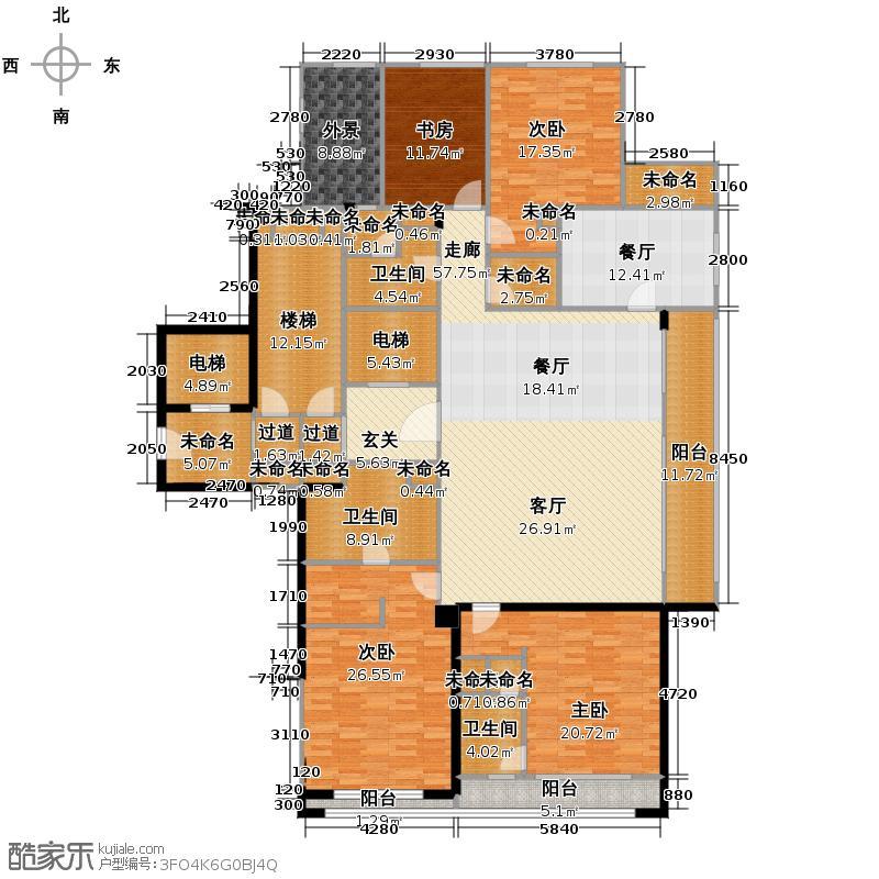 绿城西溪诚园226.00㎡正信苑F-1户型4室2厅3卫