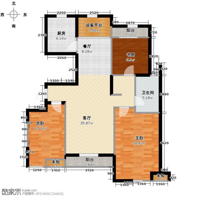广厦天都城爵士花园123.00㎡8号楼I户型3室2厅1卫