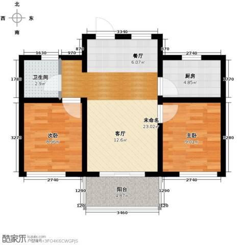 城建琥珀五环城2室2厅1卫0厨78.00㎡户型图