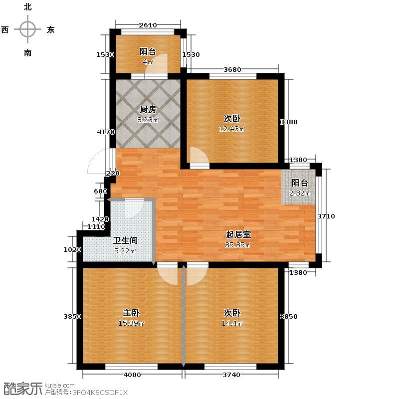 海富城122.28㎡户型3室1厅1卫