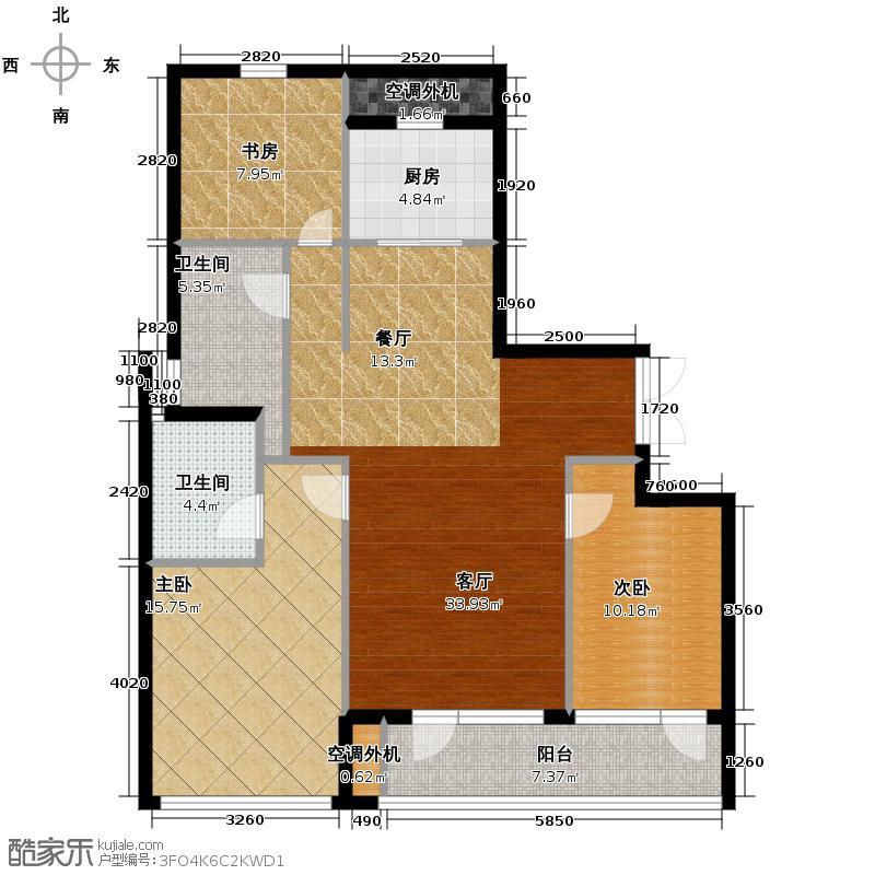 美好桂花溪园121.50㎡南区1号楼2号楼户型3室2厅2卫