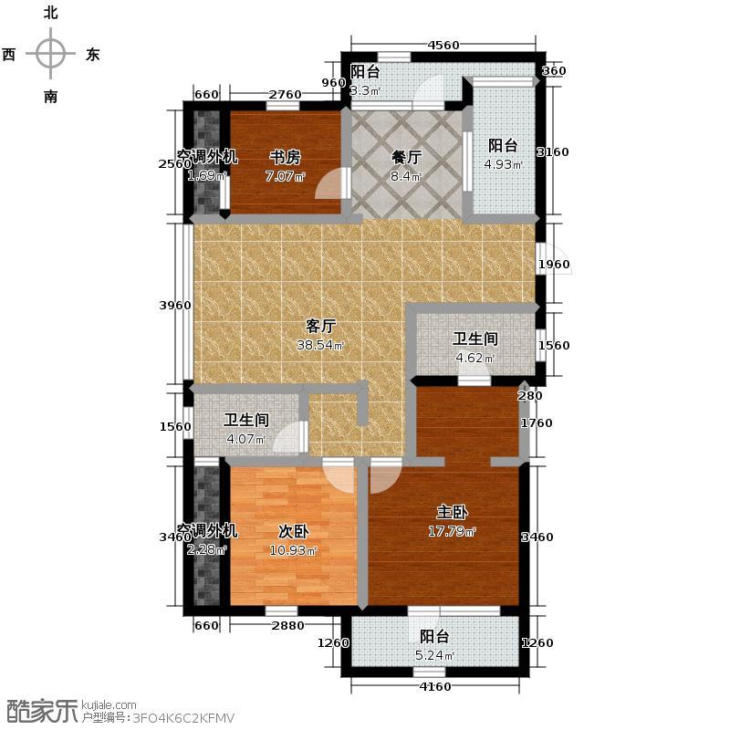美好桂花溪园133.50㎡南区5号6号楼户型3室2厅2卫