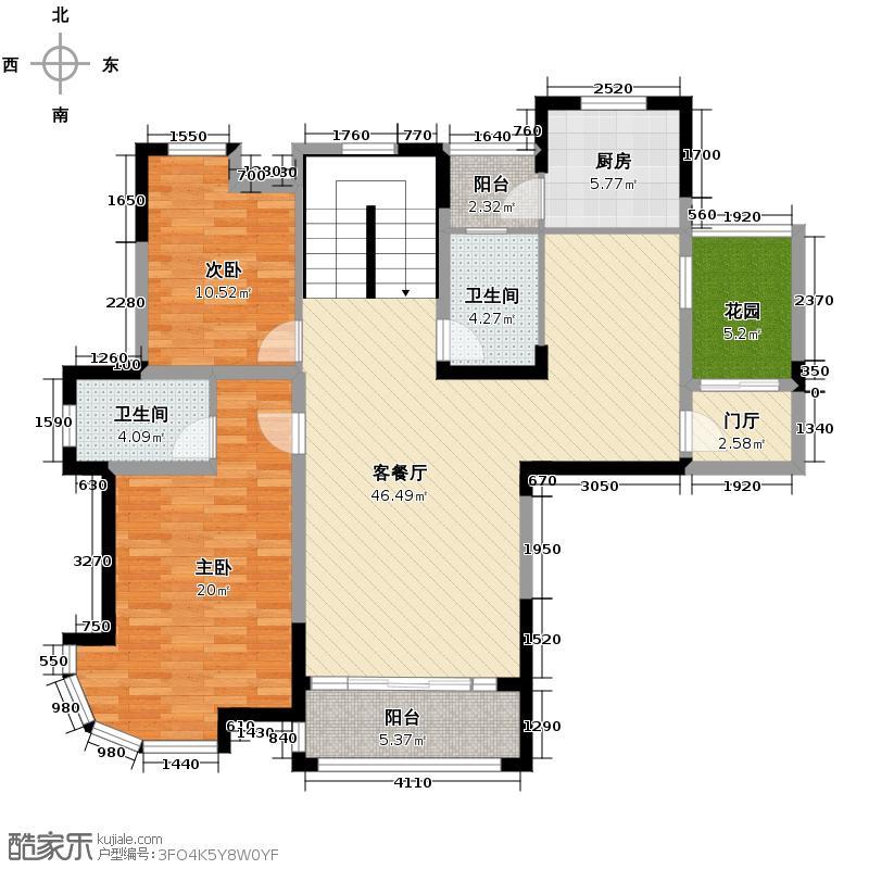 华展中央花园124.00㎡户型4室3厅3卫