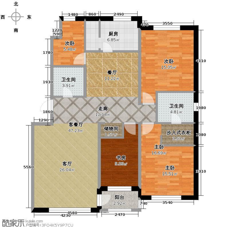 亚泰梧桐公馆147.00㎡G2户型4室1厅2卫1厨