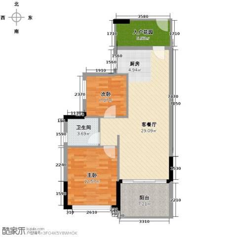 森林湖2室2厅1卫0厨77.00㎡户型图