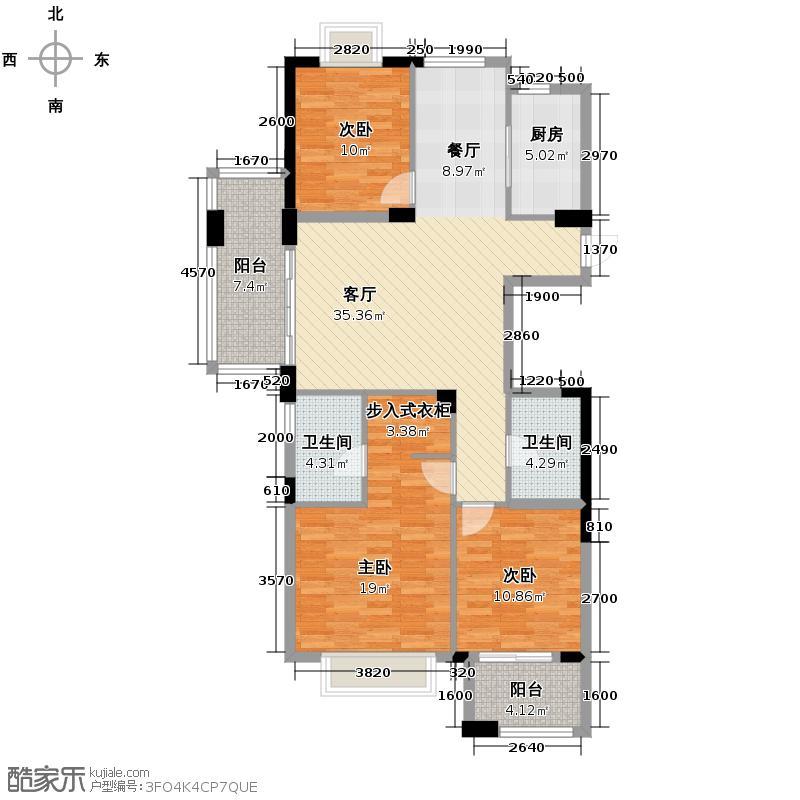 顺发堤香138.00㎡3、4号楼边套G户型3室1厅2卫1厨