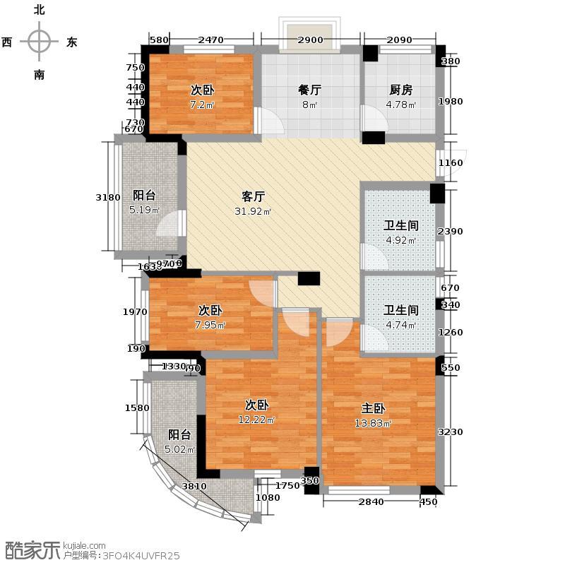 天鸿香榭里139.00㎡9、11#D奇数层户型4室1厅2卫1厨