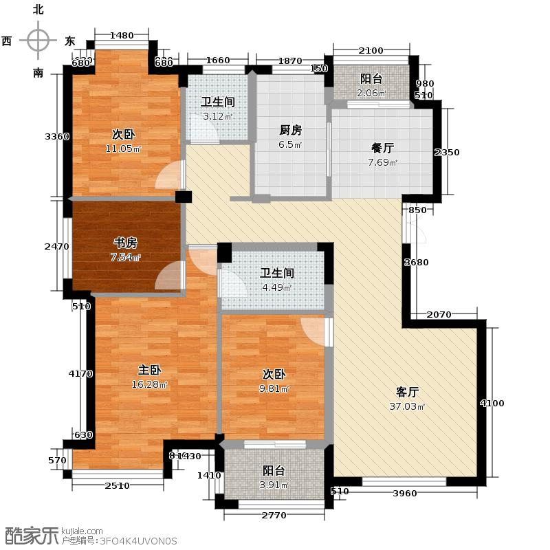 景丽华庭128.00㎡一期标准层F户型4室1厅2卫1厨