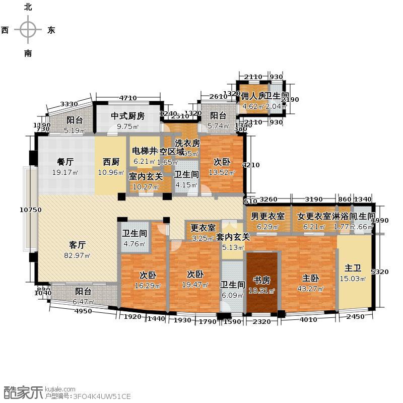杭州远洋公馆353.00㎡西区2#D5户型5室1厅5卫