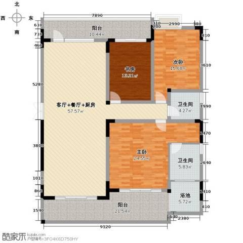 万联・晋海3室2厅2卫0厨174.00㎡户型图