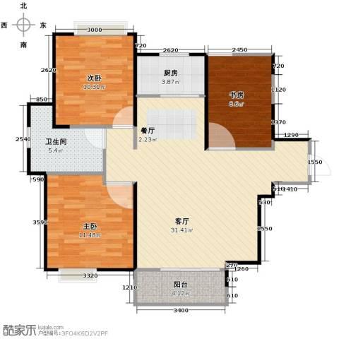 中铁滨湖名邸3室2厅1卫0厨101.00㎡户型图