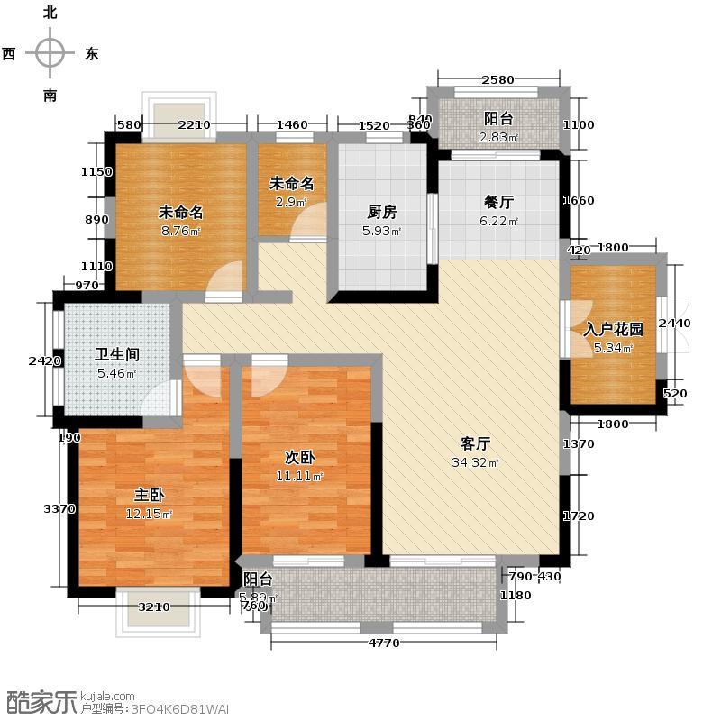 蓝鼎海棠湾138.00㎡A户型3室2厅2卫