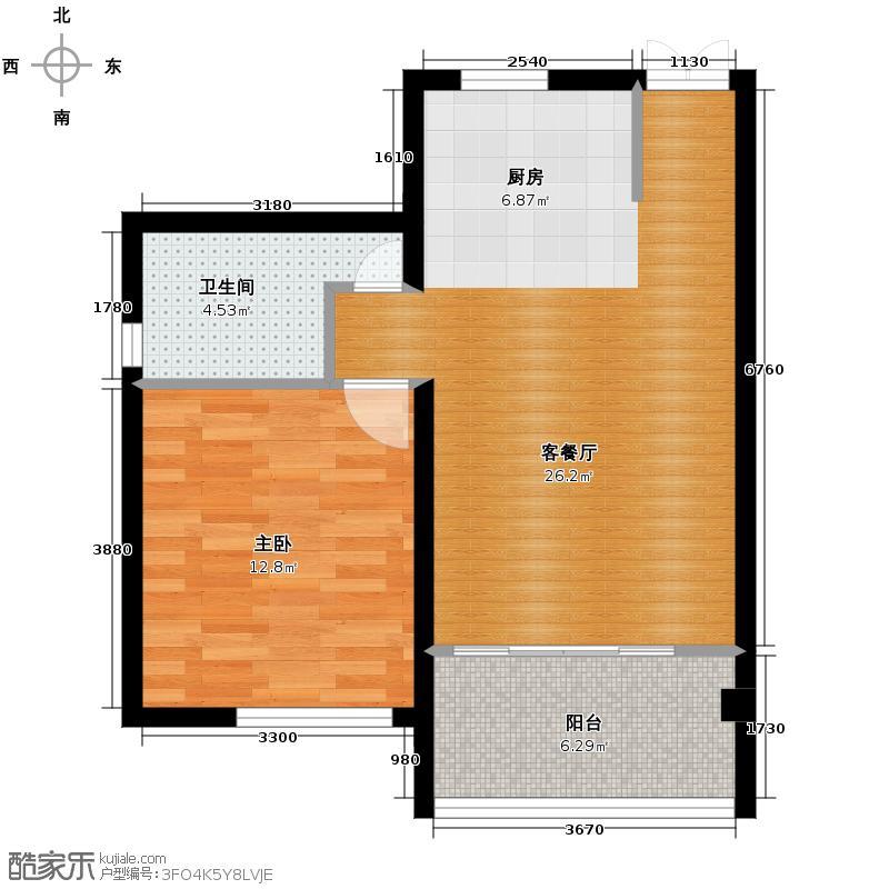山水绿世界64.00㎡10号楼二单元0一室户型1室2厅1卫