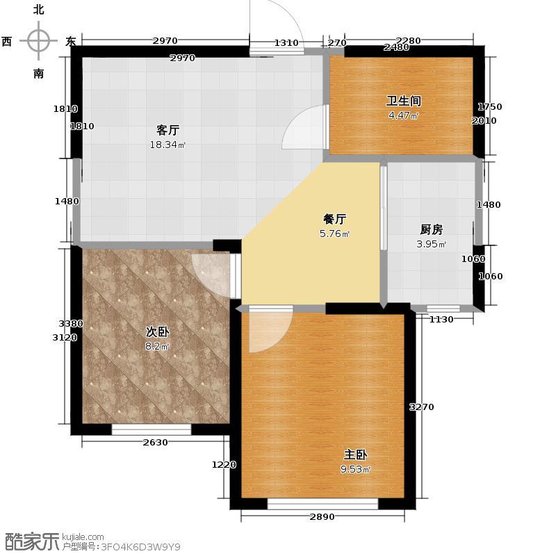 万豪东方广场67.00㎡户型2室1厅1卫