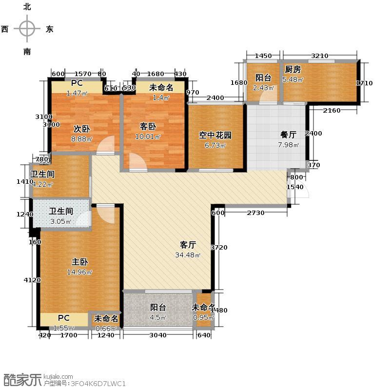 圣联香御公馆117.00㎡户型4室2厅2卫