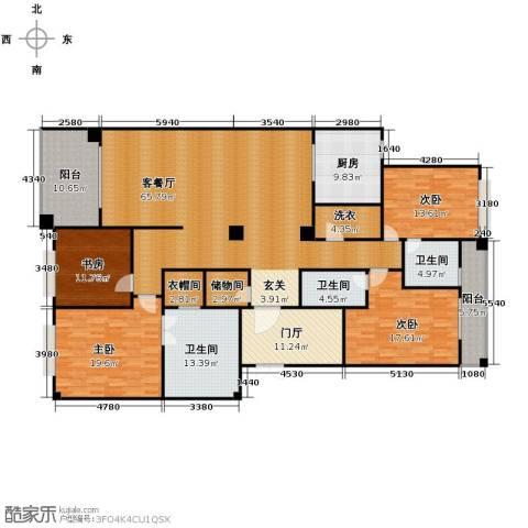 丁香公馆4室1厅3卫1厨255.00㎡户型图