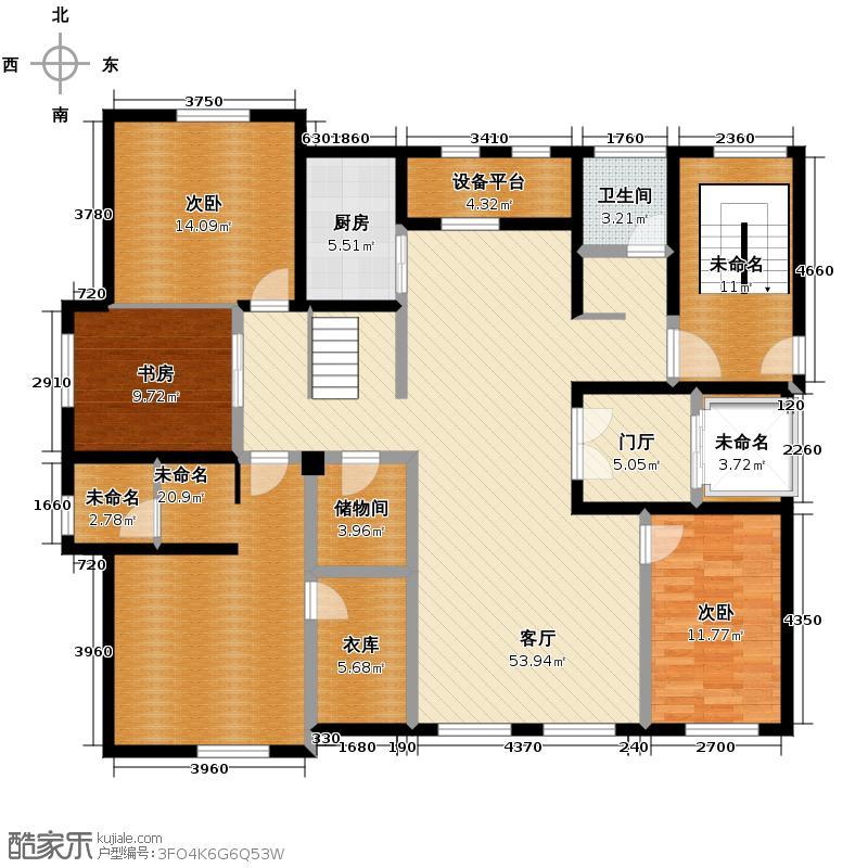 郡原相江公寓208.90㎡12-24号楼多层F-B2首层户型5室2厅3卫