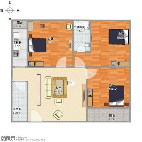 枫丹白露3室1厅2卫1厨140.00㎡户型图