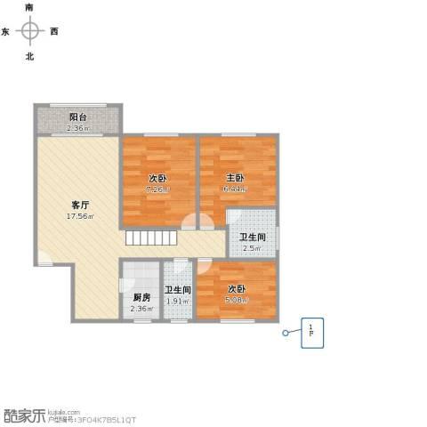 薇馨家园3室1厅2卫1厨63.00㎡户型图