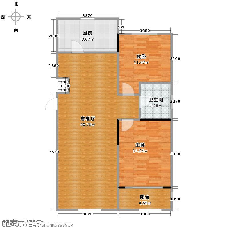 亚泰梧桐公馆89.00㎡9#楼01户型2室1厅1卫1厨