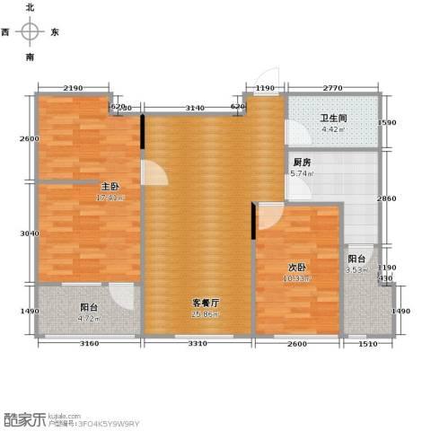 亚泰梧桐公馆2室1厅1卫1厨85.00㎡户型图