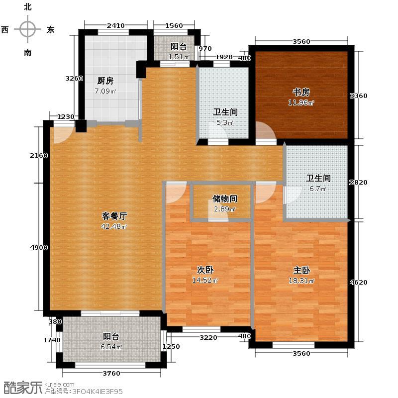 西房云溪香山139.00㎡D户型3室1厅2卫1厨