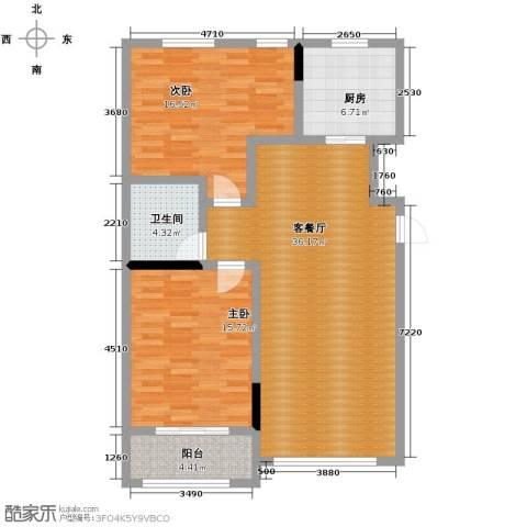 亚泰梧桐公馆2室1厅1卫1厨88.00㎡户型图