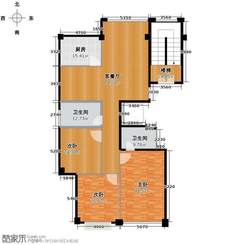 天林广场260.19㎡大西边套B1户型3室1厅2卫1厨