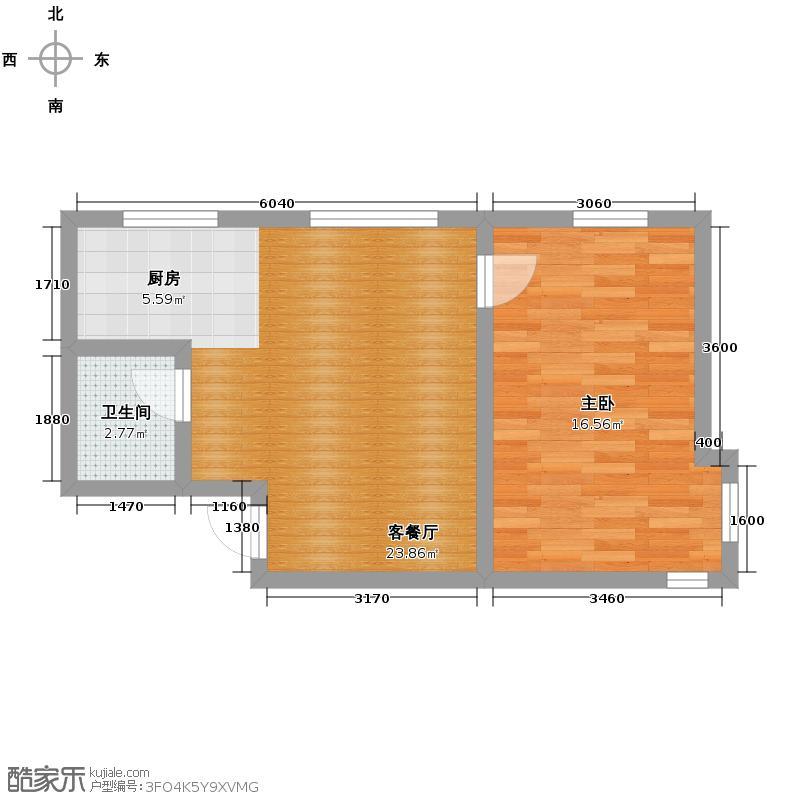 亚泰梧桐公馆67.00㎡3#楼01户型1室1厅1卫