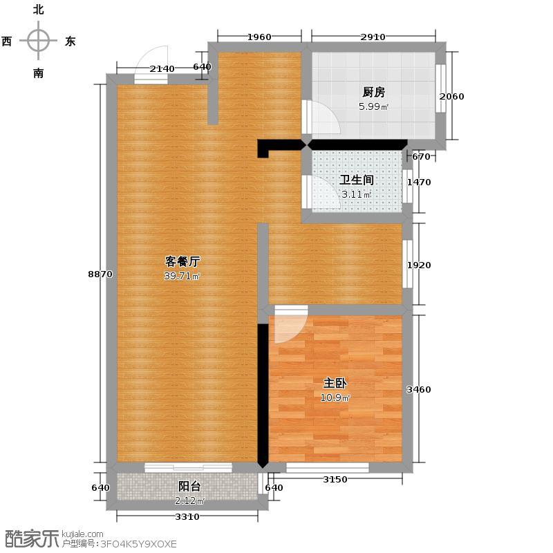 亚泰梧桐公馆81.00㎡3#楼02户型1室1厅1卫1厨