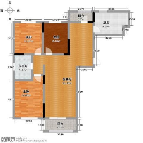 亚泰梧桐公馆3室1厅1卫1厨111.00㎡户型图