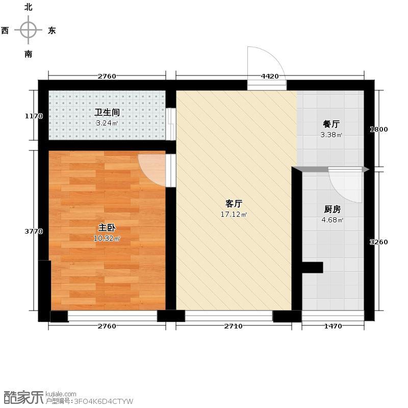 东皇先锋41.52㎡E户型1室1厅1卫1厨