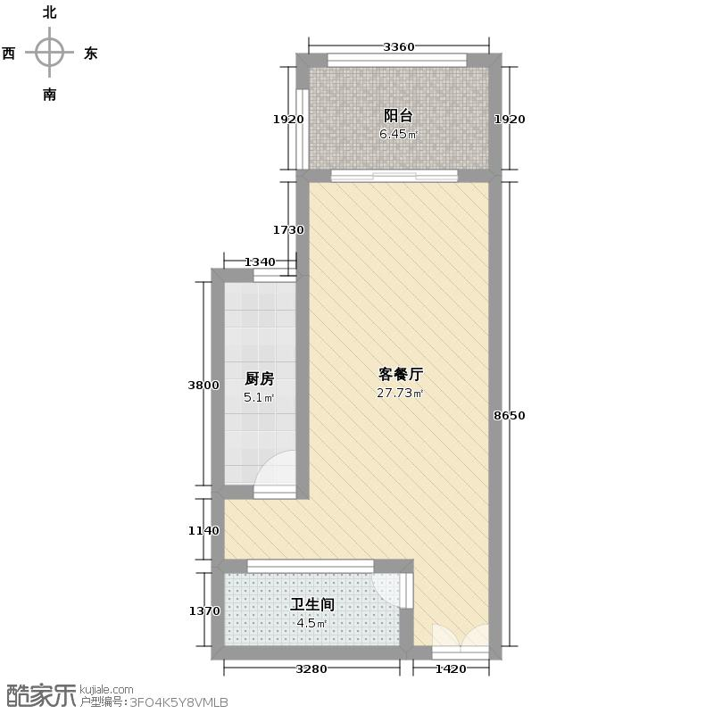 天山丽田50.89㎡B户型10室