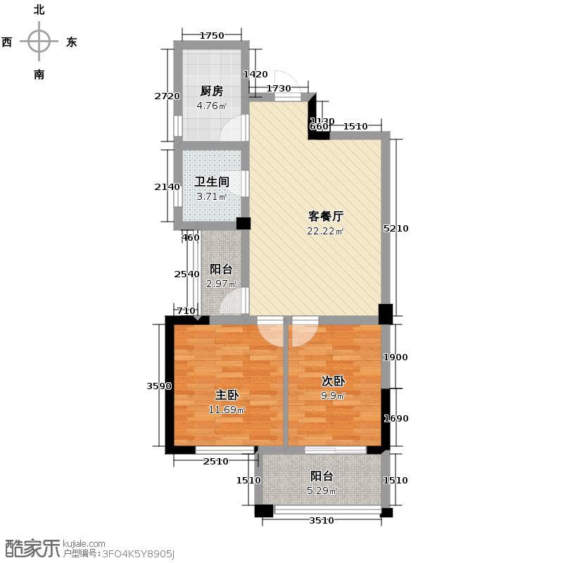 新慧金水岸78.61㎡户型2室2厅1卫