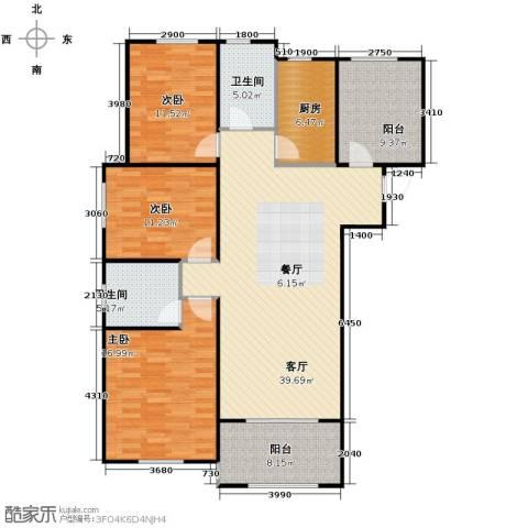 保利拉菲公馆3室2厅2卫0厨121.60㎡户型图