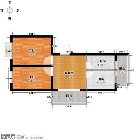 东皇先锋2室1厅1卫1厨83.00㎡户型图